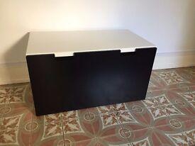 Storage bench, white & black