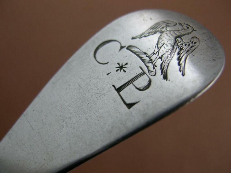 "George II Silver 8 1/8"" Spoon LONDON c1733 maker HM - w/ Eagle Crest"