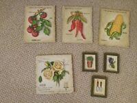 Ceramic kit hen wall plaques