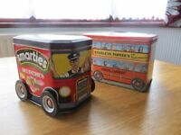 Vintage Smarties delivery van tin and London Transport bus toffee tin.