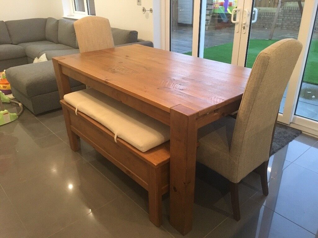 Next hartford extending dining table with 2 matching storage benches 2 dining chairs