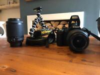 Nikon D3000 SLR camera & extras