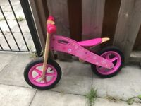 Balance Bike Wooden Flower Pink