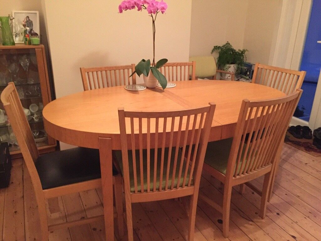 IKEA Oak Dining Table And 6 Chairs