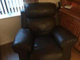 Brown leather 3 seater sofa and 1 seater deluxe electric recliner chair.