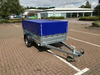 Brand new Faro Tractus 2,36cm wood side 35 cm car box trailer 750kg with mesh side and cover