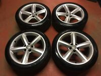 18'' GENUINE AUDI A5 S LINE 5 SPOKE ALLOY WHEELS TYRES ALLOYS PASSAT JETTA 5x112 A4 B8