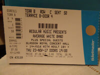 1 Ticket to see the AVERAGE WHITE BAND in Glasgow on 23rd NOV