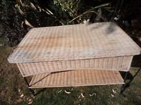 IRON AND WICKER TABLE- USED