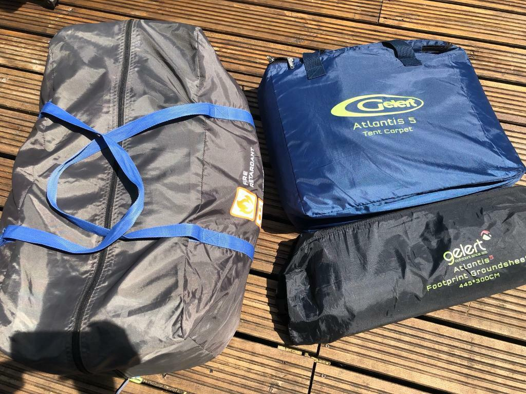Gelert Atlantis 5Family Tentin Burry Port, Carmarthenshire - Great Tent, will easily sleep 4 or 5 peopleBedroom at the back with a room at the front that has full height headroom.Full Tent (only pitched twice)Includes The extra footprint to protect the undersideIncludes a fleece carpet that fits the front room...