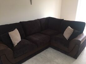 EXCELLENT condition chocolate brown L SHAPE sofa only 4 months old!!!