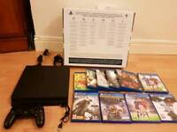 SONY PS4 SLIM CONSOLE plus 10 games and blue rays Bundle