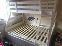White triple bunk bed and drawers ( NO MATTRESSES)