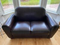 Brown Leather Sofa, Two Seater, For Sale