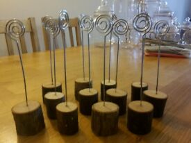 12 x Wooden place card table number holders