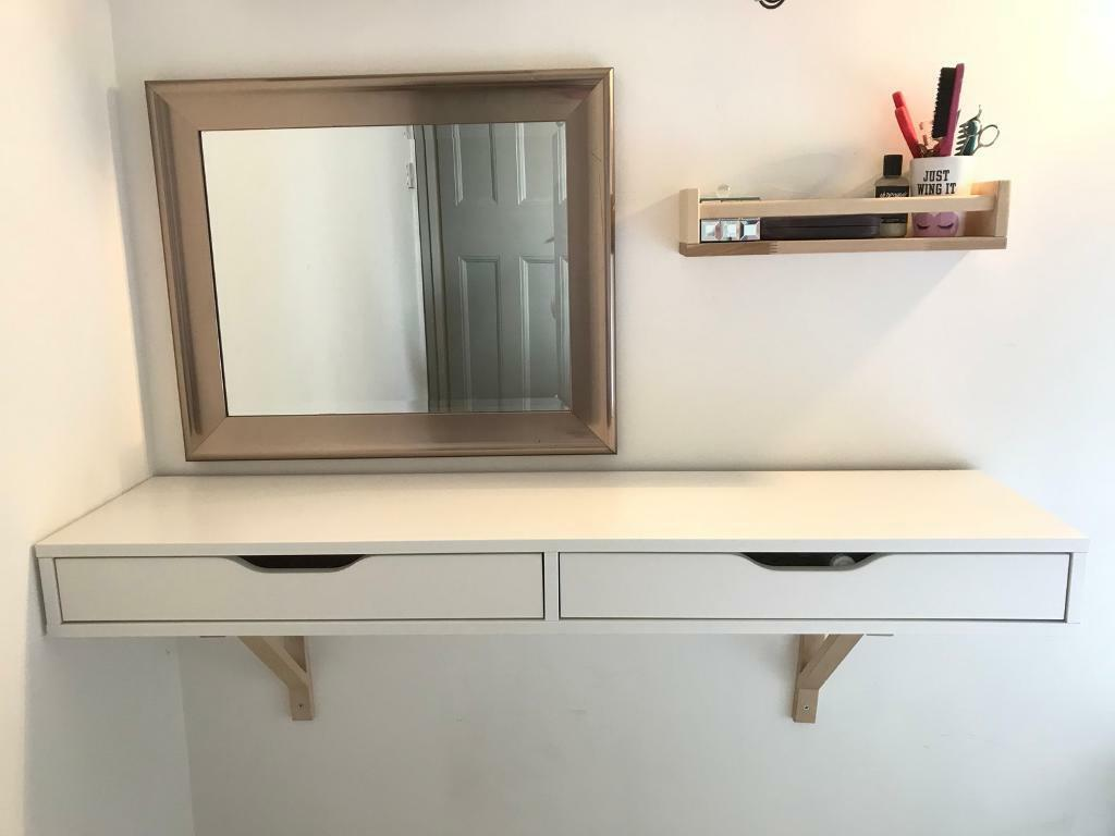 Ikea Ekby Alex White Shelf With Drawers Desk Dressing Table