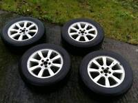 Subaru Outback alloys wheels with winter snow tyres 16 inch fit forester legacy rims