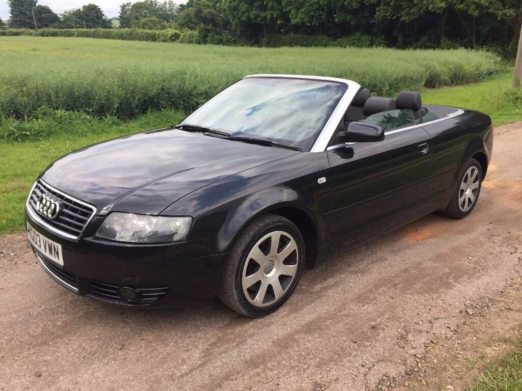 audi a4 cabriolet convertible 2003 b6 1 8 t cabriolet cvt 2dr black 78k spares or repairs. Black Bedroom Furniture Sets. Home Design Ideas
