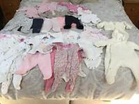 New born and up to one month baby girl clothing