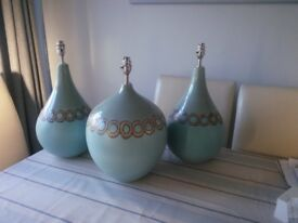 3 ceramic table lamps