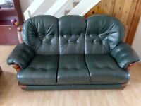 FREE FREE 3 Seater green Leather settee sofa and matching Chair