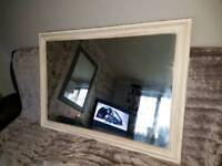 Shabby chic solid pine large mirror