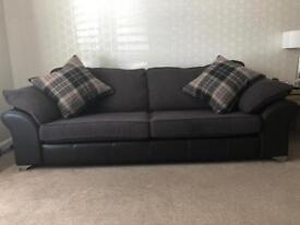 Near perfect Fabric sofa 4 seater, a love seat and storage pouffe