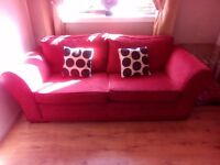 Red fabric 3 seater sofa delivery avalible