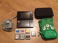 Nintendo 3ds black with 7 games and 2 cases collection old catton nr6