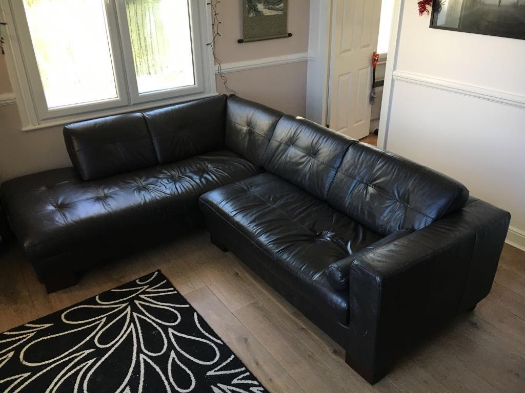4 5 Seats Dark Brown Leather Sofa L Shape In Hutton
