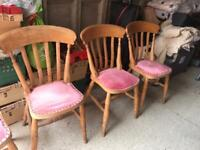 4 matching pine kitchen/dining chairs