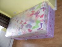 CAN DELIVER - SINGLE DIVAN BED WITH MATTRESS - NEVER BEEN USED - WHEELS MISSING