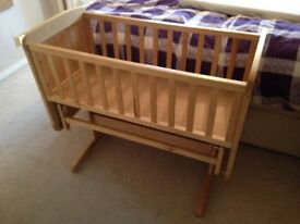 Quality wooden glider cot / crib