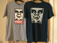 Two OBEY t-shirts for sale.