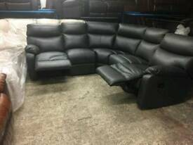 Charcoal grey reclining corner sofa in genuine leather