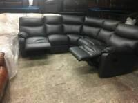 Charcoal grey reclining corner sofa in genuine leather
