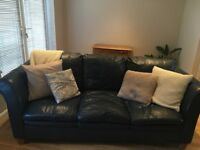2x Dark Blue Leather Sofas with wooden feet