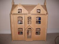 Wooden dolls house, furniture and family. (ideal Christmas present)