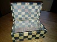 Soft stone check jewellery box made with marble.
