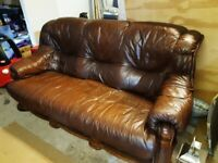 Leather Settee on solid wood base