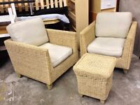 Pair of Wicker Garden/Patio Chairs & Stool