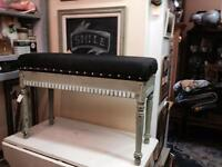 Upholstered milk painted piano bench