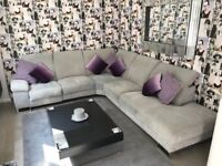Large contemporary grey electric reclining corner settee / sofa / chaise FROM COOKES FURNISHINGS