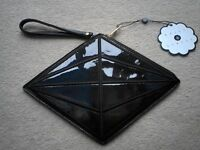 Brand New With Tags Daisy Street Black Diamond Shaped Hand/Clutch Bag