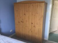 WARDROBE 3 DOORS HANGING RAIL PLUS SHELVING STORAGE GOOD CLEAN USED CONDITION WISBECH COLLECTION
