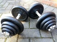 York Cast Iron Dumbell Set (40KG each one) and York Dumbbell Bench- All in great condition