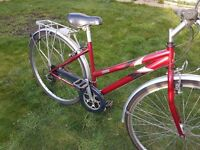 Solid Ladies Raleigh Hybrid Cycle with helmet in good condition