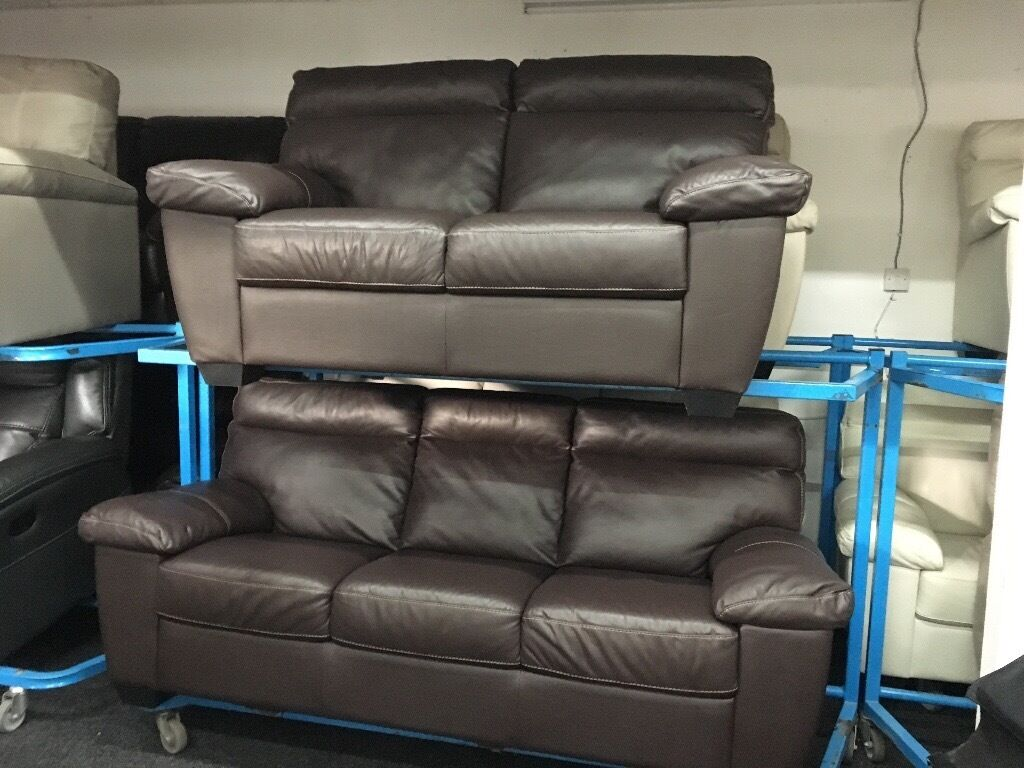ScS New/Ex Display Brown Leather 3 Seater Sofa + 2 Seater Sofa