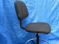 Dark grey swivel office/desk chair with adjustable foot rest, height and back