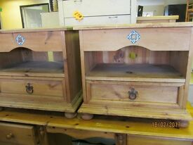 2 OLD SOLID RUSTIC PINE SIDE/ BEDSIDE TABLES WITH DRAW WITH CERAMIC INSERT PRICE IS FOR BOTH